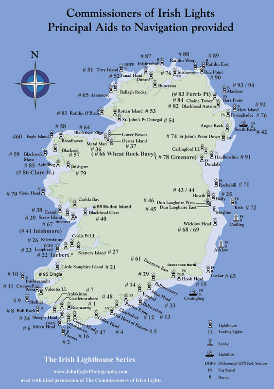 Lighthouses In Ireland Map.Map Of Irish Lighthouses